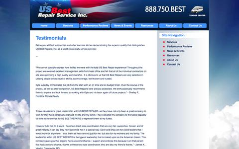 Screenshot of Testimonials Page usbestrepairs.com - US Best Repair Service, Inc. | Testimonials | Nationwide Property Preservation & Property Maintenance, REO - captured Oct. 3, 2014