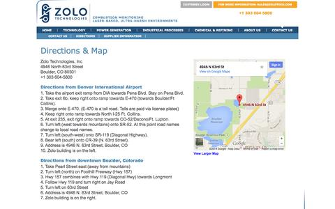 Screenshot of Maps & Directions Page zolotech.com - Zolo Technologies - Directions - captured Sept. 17, 2014