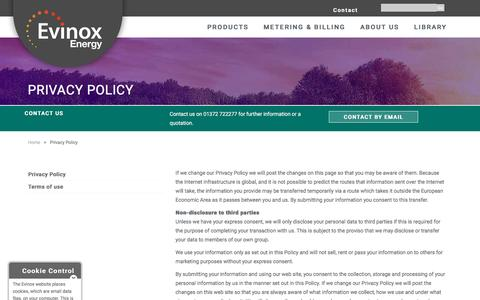 Screenshot of Privacy Page evinoxenergy.co.uk - Privacy Policy Evinox Energy - captured May 22, 2017