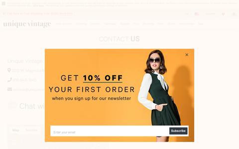 Screenshot of Contact Page unique-vintage.com - Contact Us – Unique Vintage - captured Sept. 30, 2018