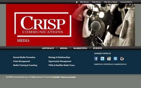 Screenshot of Press Page crispcomm.com - Media   CRISP Communications - captured Oct. 1, 2014