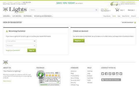 Screenshot of Login Page lights.com captured Jan. 19, 2016