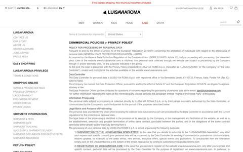 Screenshot of Privacy Page luisaviaroma.com - Contact us - Luisaviaroma - captured Nov. 17, 2018