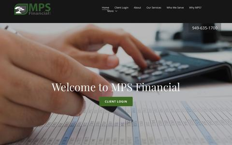 Screenshot of Home Page mpsfinancial.com - MPS Financial - captured Oct. 1, 2018