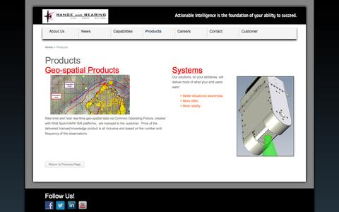 Screenshot of Products Page rangeandbearing.com - Products - Range and Bearing :: Emergency Response ISR Solutions Range and Bearing :: Rapid Response ISR Solutions - captured Oct. 26, 2014