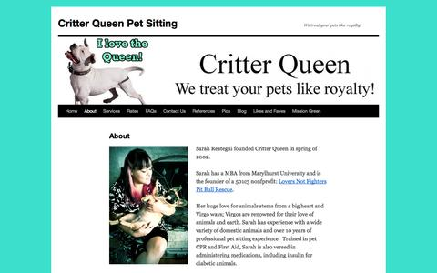 Screenshot of About Page critterqueen.com - About | Critter Queen Pet Sitting - captured Sept. 30, 2014