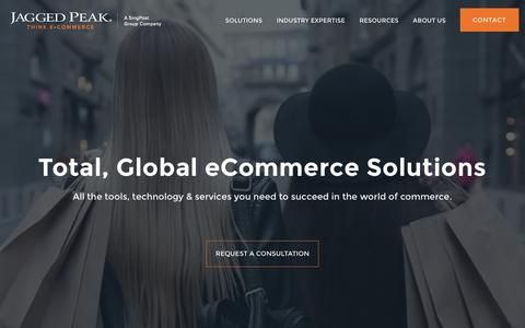 Screenshot of Home Page jaggedpeak.com - Global eCommerce Solutions | eCommerce Technology & Services | Jagged Peak - captured Sept. 20, 2018