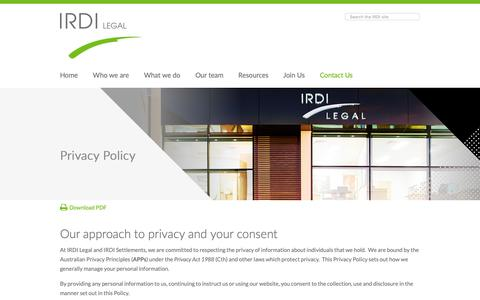 Screenshot of Privacy Page irdi.com.au - IRDI Legal - Perth Law Firm - Privacy Policy - captured Nov. 12, 2018