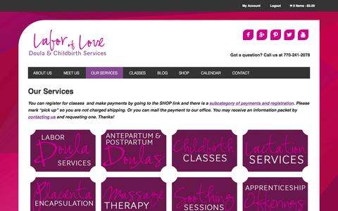 Screenshot of Services Page alaboroflove.org - Our Services - Labor of Love Doula & Childbirth Services, Inc. - captured Oct. 1, 2014