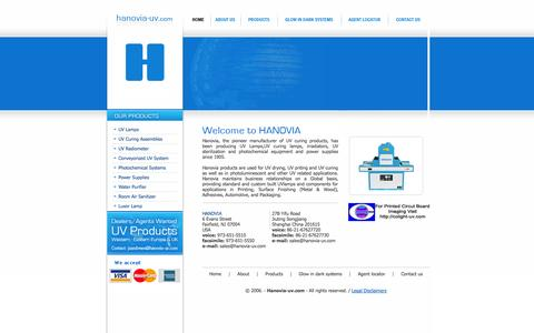 Screenshot of Home Page hanovia-uv.com - A1 Hanovia UV lamps, uv curing equipment,uv curing lamp, uv curing system and uv lamp accessories - captured Oct. 1, 2014