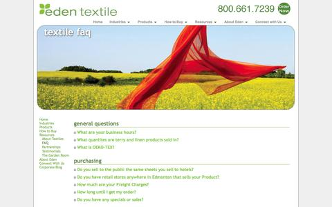 Screenshot of FAQ Page edentextile.com - Frequently Asked Questions | Textile FAQ | Eden Textile - captured Oct. 2, 2014
