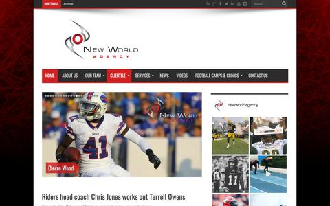 Screenshot of Home Page newworldagency.com - New World Agency official website | New World Agency is a sports management firm that aims to provide elite athletes with unparalleled professional representation in North America's most competitive and lucrative sporting associations. - New World Ag - captured Sept. 20, 2018