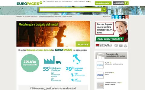 Screenshot of europages.es - Metalurgia y trabajo del metal , todos los proveedores para España y Europa de EUROPAGES - captured Sept. 12, 2015