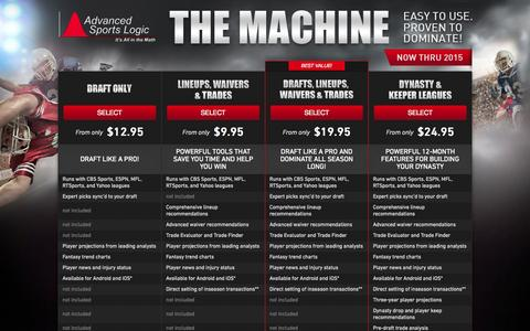 Screenshot of Products Page advancedsportslogic.com - Fantasy Football Draft Tools | The Machine Draft Software - Advanced Sports Logic - captured Nov. 5, 2014