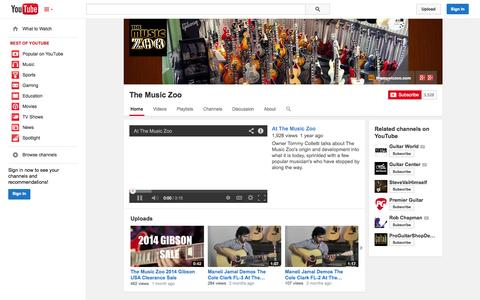 Screenshot of YouTube Page youtube.com - The Music Zoo  - YouTube - captured Oct. 26, 2014