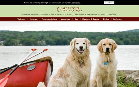 Screenshot of Home Page opecheeinn.com - Laconia, NH Hotel - Lake Ochepee Inn and Spa - captured Sept. 26, 2018
