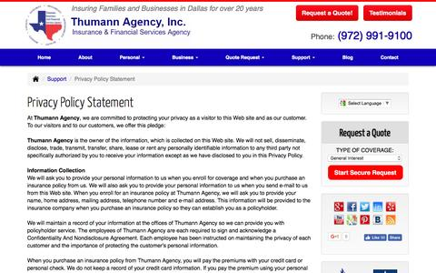 Screenshot of Privacy Page thumannagency.com - Thumann Agency - Privacy Policy Statement - captured March 13, 2017