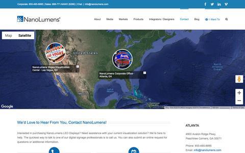 Screenshot of Contact Page nanolumens.com - Contact NanoLumens - NanoLumens - captured Feb. 13, 2019