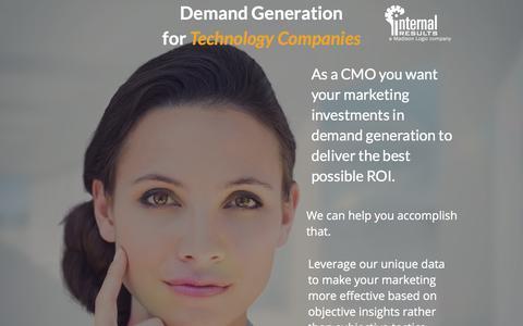 Screenshot of Landing Page internalresults.com - Demand Generation for CMOs - captured Sept. 30, 2017