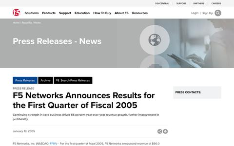Screenshot of Press Page f5.com - F5 Networks Announces Results for the First Quarter of Fiscal 2005 - captured March 8, 2018