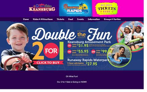 Screenshot of Home Page keansburgamusementpark.com - Keansburg Amusement Park & Runaway Rapids - captured Jan. 15, 2016
