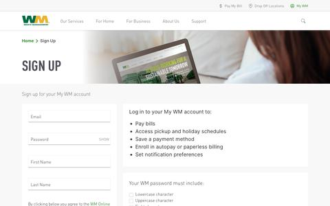 Screenshot of Signup Page wm.com - Waste Management - captured Oct. 10, 2019