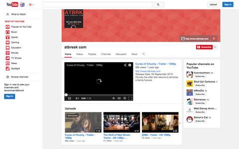 Screenshot of YouTube Page youtube.com - atbreak com  - YouTube - captured Nov. 4, 2014