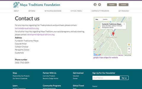 Screenshot of Contact Page mayatraditions.org - Contact us - Maya Traditions - captured Jan. 18, 2018
