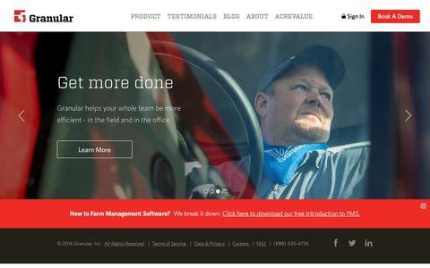 Screenshot of Home Page granular.ag - Farm Management Software | Granular - captured June 8, 2016