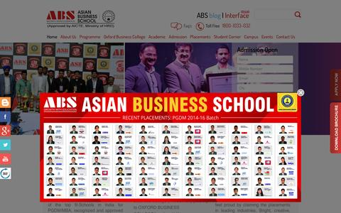 Screenshot of Home Page abs.edu.in - Asian Business School | Top MBA Institutes In India | Top 10 Business Schools In Delhi, India - captured April 21, 2016