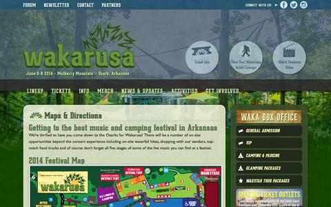 Screenshot of Maps & Directions Page wakarusa.com - Maps & Directions - Wakarusa Music Festival - captured Sept. 26, 2014