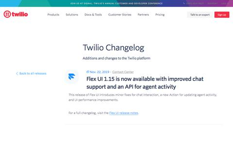 Screenshot of Support Page twilio.com - Flex UI 1.15 is now available with improved chat support and an API for agent activity - captured Nov. 28, 2019