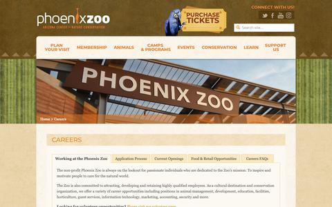 Screenshot of Jobs Page phoenixzoo.org - Careers - Phoenix Zoo - captured Nov. 11, 2018