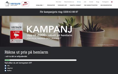 Screenshot of Home Page verisure.se - Larm anpassat för ditt boende | Verisure - Securitas Direct - captured Sept. 24, 2018