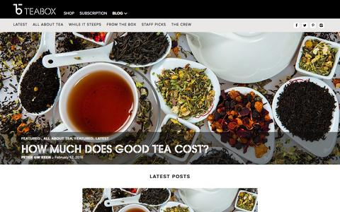 Screenshot of Blog teabox.com - Tea Stories | Best Tea Blog | Still Steeping - The Teabox Blog - captured Feb. 12, 2016