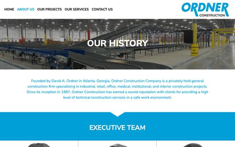 Screenshot of About Page ordner.com - About Us | Ordner Construction - captured Oct. 18, 2018