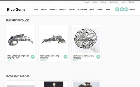 Screenshot of Home Page About Page Terms Page riyogems.com - Sterling Silver Jewelry Riyo Gems - captured Oct. 9, 2014