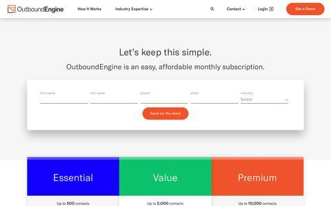 Screenshot of Pricing Page outboundengine.com - OutboundEngine Pricing - captured Nov. 4, 2018