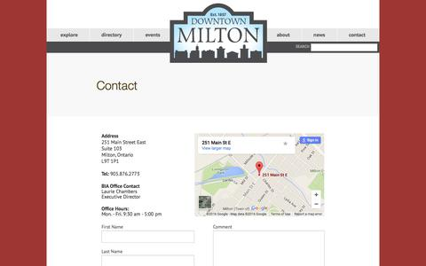 Screenshot of Contact Page downtownmilton.com - Contact | DMBIA - Downtown Milton BIA - captured Feb. 17, 2016