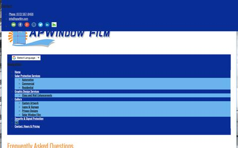 Screenshot of FAQ Page apwfilm.com - Frequently Asked Questions - APWindow Film - captured July 28, 2018