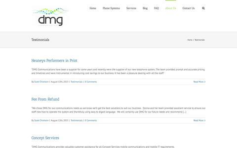 Screenshot of Testimonials Page dmgcommunications.com.au - DMG Communications – AVAYA – Telstra Business Partner   –  Testimonials - captured Sept. 30, 2014