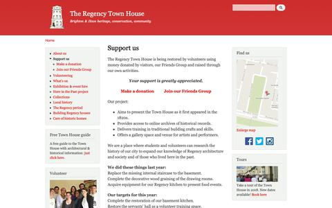 Screenshot of Support Page rth.org.uk - Support us | The Regency Town House - captured Oct. 19, 2018
