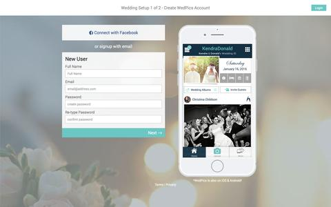 Screenshot of Signup Page wedpics.com - WedPics Sign Up- Create Your Free Wedding App & Website - captured Sept. 14, 2016