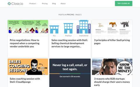 Screenshot of Pricing Page close.io - Pricing                    The Close.io Blog - captured Oct. 9, 2018