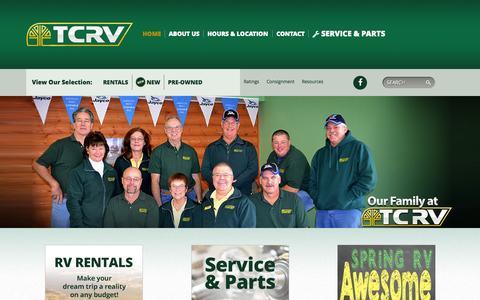 Screenshot of Home Page tcrv.com - TCRV - RV, Travel Trailer, Fifth Wheel Sales & Rentals - captured June 19, 2015