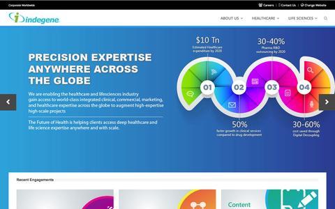 Screenshot of Home Page indegene.com - Home - captured Sept. 18, 2014