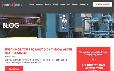 Screenshot of Blog sst.net - Blog - All Things Heat Treating | Specialty Steel Treating - captured Oct. 19, 2018