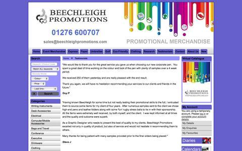 Screenshot of Testimonials Page beechleighpromotions.com - Testimonials - captured Oct. 5, 2014