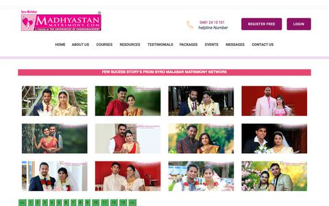 Screenshot of Testimonials Page madhyastanmatrimony.com - Madhyastan Matrimony-Success Stories in Syro-Malabar Matrimony - Catholic Matrimony, Christian Matrimony, Kerala Catholic Matrimonial - captured Sept. 24, 2018