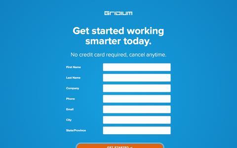 Screenshot of Signup Page gridium.com - Start Gridium Free Trial - captured Dec. 4, 2015